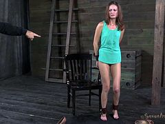 Mommy Hailey needs to stay down so her cunt will get filled with the executor's hard cock. She will learn her lesson as the guy roughly fucks her pussy on that chair and then stands up to drill her from behind. After he had enough with her vagina he puts her on her knees, gags her mouth and prepares her for more