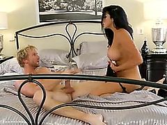 Bitoni has a big ass booty, and she loves bouncing it on big banging cocks. This sexy slut takes Ryan's meat and plugs her muffin with it while she bounces her nice ass up and down, making Ryan's dick raging hard. Audrey grabs that cock with her mouth and jams it all the way to the back of her throat before putting that rod back into her vag until Ryan dumps his splooge in her cunt.