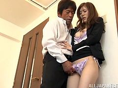 Awesome Japanese cutie Yuria Ashina makes out with her man and pleases him with a blowjob. Then she leans forward and allows him to drill her sweet snatch from behind.