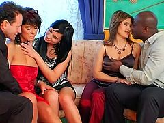 Gosh, all three chicks are real experts in pleasing dicks. Slutty gals in sexy dresses see no use in chatting and drinking. They just take the lead and start both riding and sucking strong dicks of white and black stud. Horn-mad nymphos in heels are worth checking out in this incredibly hot Tainster sex clip to jizz at once.