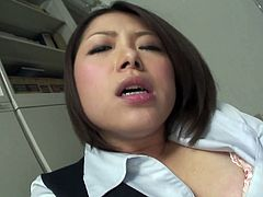 Staying alone in office, sex greedy Japanese manager decides to please herself right in the office. She mauls her cuddly body with hands before she takes a dildo to pound her bearded pussy rapaciously.