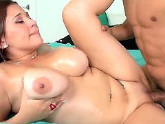 Naughty young fucker dude Cris Commando oiled up his girlfriend Selena Castro and making her to suck his cock and please it with great titjob.
