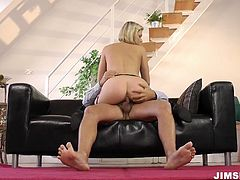 This mesmerizing blondie strips in front of old man. She gets rid of white loose dress and wears hot black lingerie. Wondrous slut has a strong desire to ride the dick of this spoiled grey haired bastard as if there's no tomorrow.