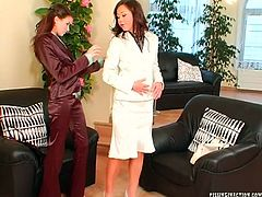 Arousing brunette hoe goes through a pussy checking procedure by horny gynecologist. The latter rubs her cunt with her feet through pants before sticking her pedicured feet inside her mouth in steamy lesbian sex video by Tainster.