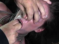 Milf Hailey likes couch sex and because she was a dirty whore and fucked over and over again on that couch the executor wants to give her enough. He roughly fingers her mouth and then fills her pussy with his dick. He continues fucking her mouth and ass and makes sure that she will receive more then she needs
