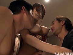 Yuka is the sexiest Japanese girl with big boobs. She takes her bikini off and sucks two dicks expertly. After that she gets her neatly trimmed pussy drilled and filled with cum.