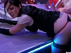 Drunk and turretless white sluts in steamy lingerie and fun costumes get on a scene where they start playing dirty lesbian games in steamy group sex video by Tainster.