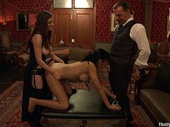 Have a look at this bondage scene where a slutty brunette is tortured and forced to suck on her master's big cock by her smoking hot mistress.