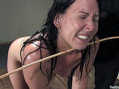 Get a load of this bondage scene where a sexy slave is humiliated by her master before he lets her suck and fuck his big cock.