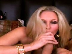 Crazy hot blonde porn star Julia Ann starts out with a great blowjob. She sucks Ramon Nomars dick and then plunges it in her hungry and narrow vagina.