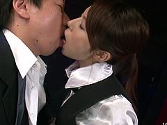 Submissive hot waitress Rino Asuka sucks the dick of the tired dude in the bar
