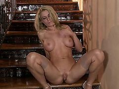Randy Moore with juicy breasts and clean cunt is horny as hell and fucks her love hole with her dildo for your viewing enjoyment