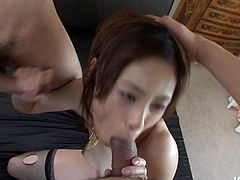 Svelte Japanese hoe gives double oral fuck to two aroused dudes while standing on her knees in front of them before she stands in doggy for a hard fuck from behind in perverse group sex video by Jav HD.