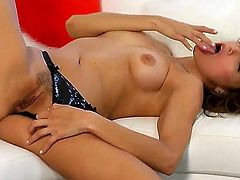 Celeste Star with tiny boobs and shaved muff kills time stroking her muff pie