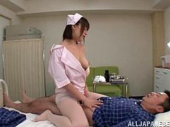 This delightful and sassy Japanese honey Riko Honda treats her patient in a very forbidden way! Fucking her leaking snatch was something hot!