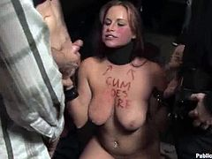 This desirable blond babe got some hot tits. She gets naked and gets tied up in the bar. That hogtied was so comfortable to fuck this slender bunny!