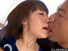 Flexible Japanese girl has sex with her coach. She gives him a blowjob and gets her titties licked. After that she also gets her hot pussy fucked.