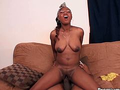 Her bubbled ass is gorgeous. Enjoy hussy ebony chick which gets her pussy hole drilled hard in doggy style by one horny cocky dude. She also rides his dick and her saggy tits bounce with joy.
