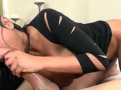 Priya Rai gets down on her knees to gives deep blowjob to handsome guy