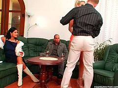 Mature sex greedy couple is watching their friend making out with a steamy blond strip dancer. He pokes her in doggy pose before she kneels down to oral fuck his sturdy dick in sultry group sex video by Tainster.