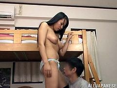 Naughty Japanese student undresses and gets her juicy boobs massaged. After that she gets fucked reverse cowgirl and doggystyle.