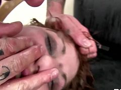 Grabbed by her neck, mouth and pussy fingered Lucy enjoys it all. She's a mom that likes a rough fuck and this guy shows her absolutely no respect! After he made himself clear who's the boss between them the dude inserts his hand in Lucy's vagina and rips her pussy. Damn this bitch now has some room inside there