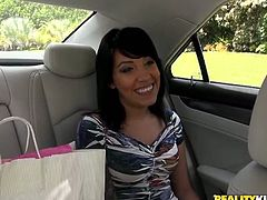 Impressively hot and talkative brunette seduces a taxi driver and invites him home. Stripping kinky bitch smiles seductively, plays with her ugly tits and shows butt. This voracious for sex nympho in Reality Kings sex clip will surely make you jizz.