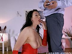 There's no other delight for this amazing British brunette in stockings than being fucked from behind. Kinky lissom wanker warms up by tickling her fancy and desires to be fed with cum after a stout blowjob. Dude, you surely must check out this tall gal in stockings in Jim Slip sex clip to jerk off for joy.