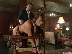 Ravishing babe Mia Lelani lets Steve Holmes tie her up. Steve makes Mia suck his dick and then drills her awesome pussy remarcably well.