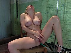 After seeing this blonde's amazing body, you'll feel a boner growing in between your legs. Watch her taking an enema in this solo clip as you hear her moan.