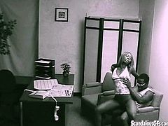 Have a look at this hidden camera where a couple is left alone by their therapist and they end up having rough sex on top of her desk.