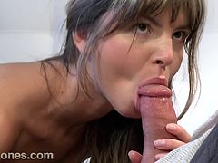 Desirable and super naughty Russian babe gets naked and starts sucking a hard cock. She is so fucking good and so damn sexy.