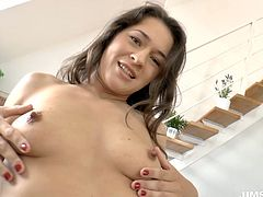 Ardent and palatable brunette is a great wanker. Don't you believe? Then check her out in Jim Slip sex clip. Torrid gal with natural tits forgets about everything in the world while rubbing and fingering her wet pussy.