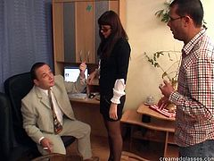 Pack Of Porn sex clip presents dirty-minded brunette. This bitch works as a secretary. Horny slim slut isn't pretty, but she's surely hot like hell. Spoiled nympho with nice butt bends over the floor and gets absorbed with sucking dicks for sperm.