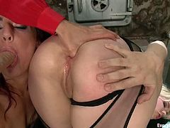 Alice Frost and Francesca Le stand on all fours and demonstrate their butts to their lesbian friend. Then the girls get their brown eyes fucked with dildos and fisted like never before.