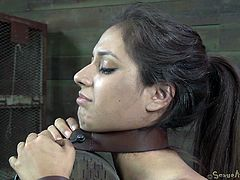 She's smoking hot isn't she? Well this bitch may look hot but the fact she's tied with leather belt on that wooden post and brutally mouth fuck makes her look even better. Look at her pretty face and that hot booty. She chokes with dick and can't do nothing about it. That what she deserves for making men horny!