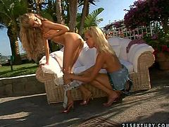 Smoking hot slender blonde dolls with long legs and natural boobies get naked and enjoy licking each other in amazing outdoor action while dirty neighbor films them in pov