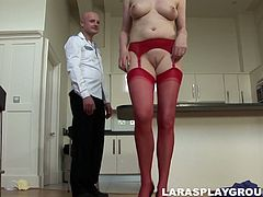 This dirty-minded brunette gets totally absorbed with pleasing a man at home while her husband is at work. Unfaithful slut with droopy tits stretches legs in red stockings wide for being poked from behind tough. Gosh, this shameless filth is surely worth checking out in Jim Slip sex clip if you wanna jizz at once.