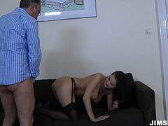 Voracious whore Candy Alexa is wearing black stockings and high heels. She is penetrated in her slit in a missionary position and hammered bad.