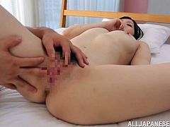 Stunning Japanese chick fondles her hot boobs and gets her vagina licked. After that she gets fucked gently in a bedroom.