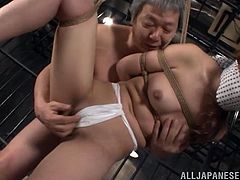 Nasty Japanese girl Sena Kojima is having fun with some guy in prison. The man binds the hottie, plays with her natural tits and then fucks her sweet pussy deep and hard from behind.