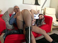 He mauls her and after she sits on his big erected tool. She likes the size of his dick and moves her gorgeous ass fast. Enjoy hot tempered slut riding Jim Slip.
