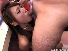 Japanese stripper prepares for the show but before it she gives a blowjob. She drops to her knees and sucks this dick with great pleasure.