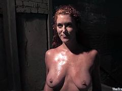 Getting two cocks at a time with her nipples twitched