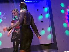 Dripping wet drunk Russian hussies dance on the scene in clothes before they start rubbing their wet aroused bodies over each other in sultry lesbian sex video by Tainster.