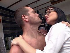 Wendy Moon is a slutty four-eyed schoolgirl in mini skirt. Chick in uniform gives blowjob on her knees and then gets her flexible pussy filled with thick throbbing cock. Shes a young sex addict.