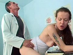She has got a special treatment in the doctors office. She is penetrated in her tight wet twat doggy style and hammered deep in the vag.