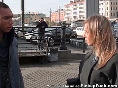 Russian picked up  girl rides dick in a public place