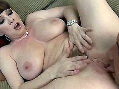RayVeness shows her slutty side to hard cocked guy Keiran Lee by taking his rock hard boner in her mouth