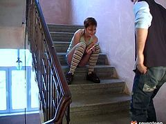Enjoy kinky young couple are making love on the stairs. He fingerfucks her slit and after she sucks his dick with a great pleasure. Club Seventeen site performs you a lot of exciting videos featuring amateur girls.